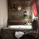 wood wall bath
